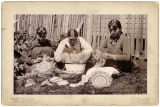 Native women weaving baskets, Sitka, Alaska, c. 1897.
