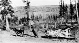"Prospector working ""G"" pole, Donnelly, Alaska, March 1915."