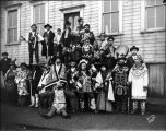 Guests from Klukwan, in regalia, at 1904 potlatch, Sitka.