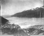 Juneau on Gastineaux [Gastineau] Channel, Alaska. Douglas and Treadwell in the Distance, copyright...