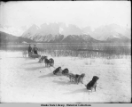 Two men standing behind sled and dog team on shoreline.