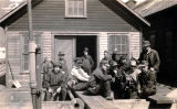 Treadwell workers outside mine building, ca. 1918.
