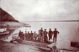 Men at Nulato on their journey up Yukon River, ca. 1898.