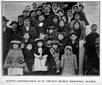 Native congregation at St. Philip's Church, Wrangell, Alaska, ca. 1908.