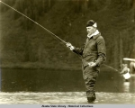 Alaska Aerial Survey Expedition,  Aug 7, 1929; Gov.  Parks fishing.