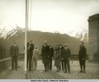 Gov. Parks has raised the first flag over Federal Bldg.  Feb. 14, 1931.