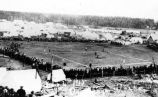 July 4, 1915.  Anchorage, Alaska. [View of baseball diamond, with crowded stands].