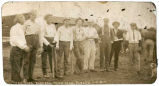 [Faded images of the members of the Rubes and Rough Necks baseball teams of Long, Alaska.  July 4,...