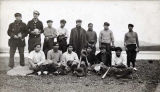 Famous Hydaburg Baseball League [group of fourteen men and equipment].