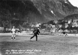 Gov. Bone shows Good Form as a Baseball Pitcher [at the Juneau Baseball Field].