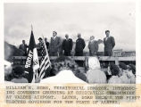 [Valdez airport dedication ceremony with Terr. Sen. Wm. Egan introducing Gov.  Gruening.]
