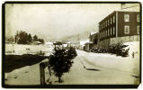 [Sitka; Lincoln Street in winter, looking toward Russian Church.  Barracks and Custom House in...