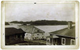 [Sitka harbor and islands (with Mt.) Edgecumbe in distance.  Barracks and old warehouse in...