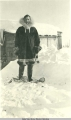George Parks wearing reindeer skin parka and mukluks made by Cape Prince of Wales Eskimo girl.
