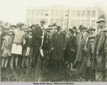 Gov. George Parks, left center, and spectators at ground breaking ceremonies for Federal Building,...