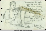 Pencil sketch of George Parks and accompanying poem; Camp Lee 6/30/18.