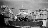B.S.P. 3142 bow view on dry dock.