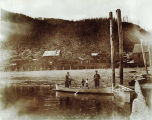 Just launched my sealing boat at Douglas, Alaska, summer of 1899.