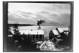 [View of Yakutat harbor taken from above the cannery, ship in harbor.]