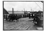 [A funeral on the dock, with a body to be shipped outside. Large crowd.]