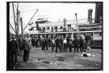 S.S. Otsego at [dock in]Yakutat, [with crowd of people.]