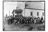 [Group portrait outside of ANB Hall. ANB convention held in Yakutat in 1931.]