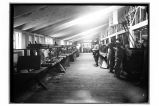 [Interior view of the can loft where the cans were made by hand in the cannery.]