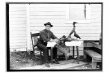 [Hardy Trefzgar at his home on a fox farm near Knight Island.]