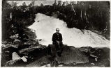 Uncle Martin A Prominent Denver Man on a Boulder at Warm Springs Water Falls – Baranoff Island,...