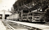 [Alaska Gastineau Mining Company railroad with locomotive and cars leaving tipple.]