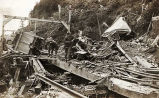 [Alaska Gastineau Mining Company railroad and mine cars destroyed by involuntary explosion.]