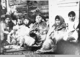 Hoonah Women weaving baskets.