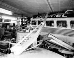 Channel Lines bus hits Rusher's Hardware store; June 9, 1956.