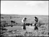 [Mother and daughter washing with or collecting water at wetlands/grasslands pond.]