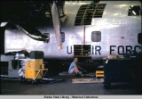 C-123 damaged by prop going thru fuselage,  1960.