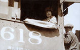 [Mrs. Harding in #618 engine cab.]