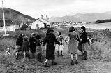 School children dancing at Unalaska, Aleu[t], 1939