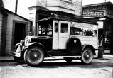 [A California Grocery delivery truck in front of their store on South Franklin Street, just south...