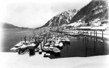 [Alaska-Juneau Mill and small boat harbor, winter view toward Juneau.]