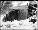 FRONT VIEW OF MY TRAPPING CABIN.