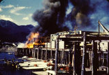 Cole's Dock Fire next to Coastal Airlines Bldg (1950).