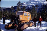 "Club hike – ""oola"" used to haul skiers to ski bowl, March 1954."