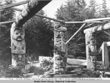 Old Indian Totems which formerly supported roof of Tribal Community House at Kasaan.