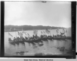 Killisnoo natives arriving at Sitka to attend potlatch.  Copyright Dec. 23, 1904.