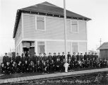 The Home Guards in front of Pioneer Hall. Anchorage Alaska. May 7, 1918.