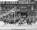 """Pier 2"" in Seattle, of the Alaska Steamship Co., with crowd of men, women and..."