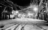 Franklin Street, Juneau, Alaska on a winter night.