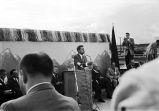 [Senator John Kennedy standing at podium delivering speech at the Alaska State Fairgrounds,...