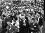 [Large crowd gathered at the Alaska State Fairgrounds, Palmer, Alaska, to see and listen to...