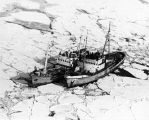Foreign fisheries. [Two ships teathered together and surrounded by ice.]